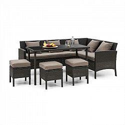 Blumfeldt Titania Dining Lounge Set, záhradná sedacia súprava, čierna/hnedá