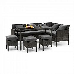 Blumfeldt Titania Dining Lounge Set, záhradná sedacia súprava, čierna/tmavosivá