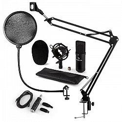 Auna CM001B mikrofónová sada V4 kondenzátorový mikrofón, USB adaptér, mikrofónové rameno, pop filter, čierna farba