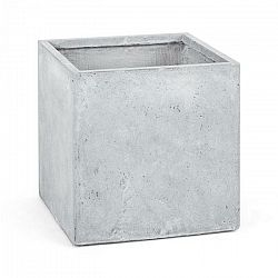 Blumfeldt Solidflor, svetlý šedý, kvetináč, nádoba na kvety, 50x50x50 cm, fiberton