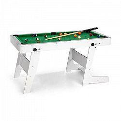 OneConcept Trickshot, biliardový hrací stôl, 140x64,5cm, 16 gulí, 2 biliardové palice, MDF, biely